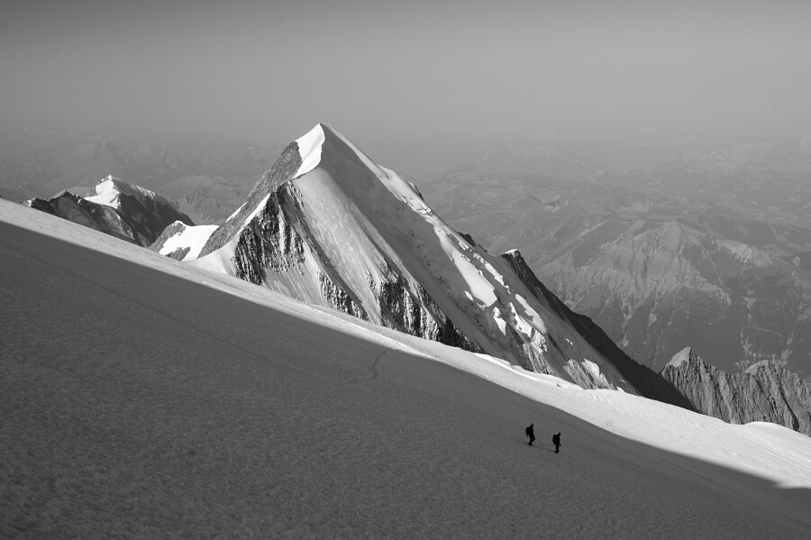 Descent from Mt. Blanc, at the Dome du Gouter.