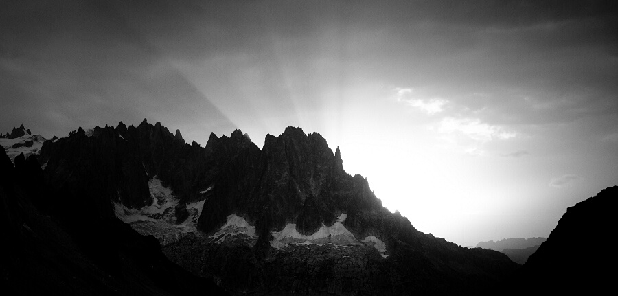 Aiguilles de Chamonix seen from Leschaux hut.