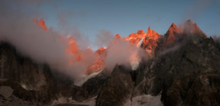 Summer look of Aiguilles de Chamonix, winter look, Chamonix Mont Blanc, Rhone Alpes. France.